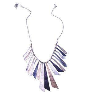 Jewelry - Boho Tin Emulated Bird Feather Necklace w/Patina